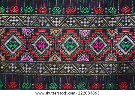 Thai fabrics patterns thai graphic Thailand embroidery designs  - stock photo