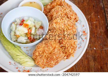 Thai Food Fried Shrimp Cake (Tod Mun Kung) - stock photo