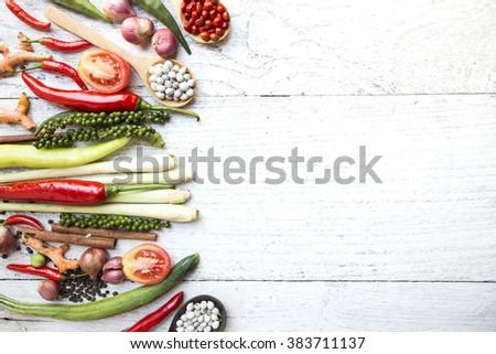 Thai food ingredients, vegetable, spicy taste - stock photo