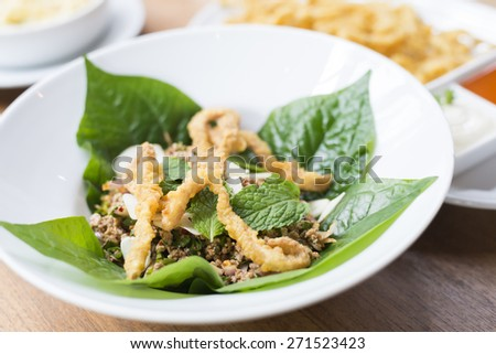 Thai food : minced meat with vegetable and chili - stock photo