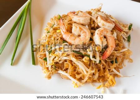 Thai food Pad thai , noodles with shrimp - stock photo