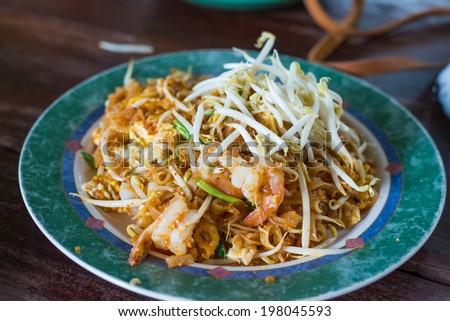 Thai food, Pad thai Shrimp, Thai style noodles - stock photo