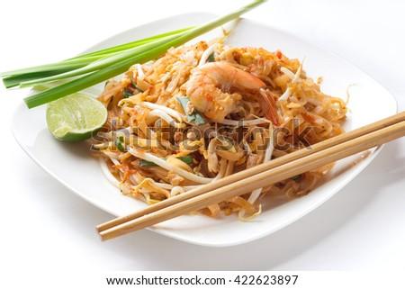 Thai food Pad thai , Stir fry noodles with shrimp - stock photo