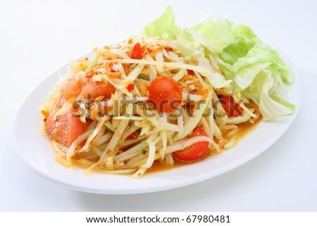 Thai Food Papaya Salad - stock photo