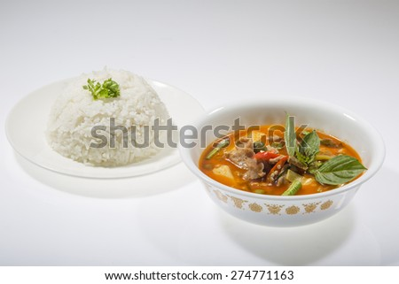 Thai Food Red Curry with rice - stock photo