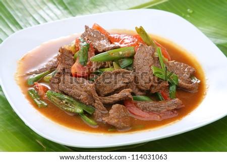Thai Food Stir Fried Beef With Fresh Chili - stock photo