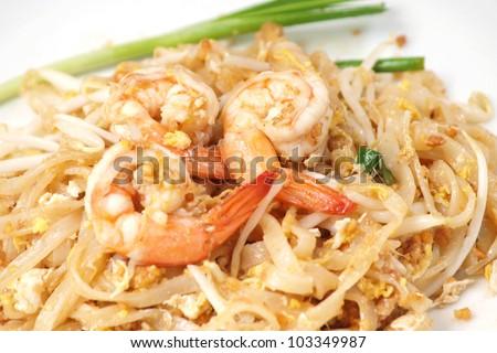 Thai food style , stir-fried rice noodles (Pad Thai) - stock photo