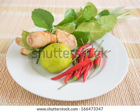 Thai food Tom Yum Kung Soup flavoring - stock photo