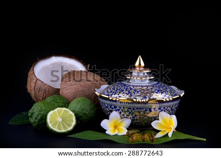 thai food with porcelain - stock photo