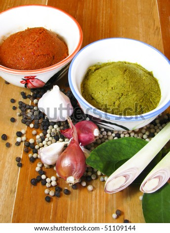 Thai green and red curry with ingredient - stock photo