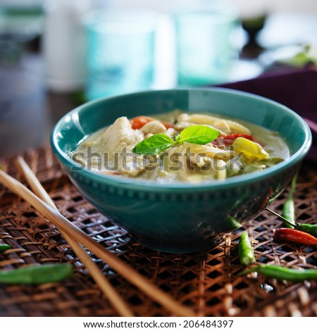 thai green curry with chicken in bowl - stock photo