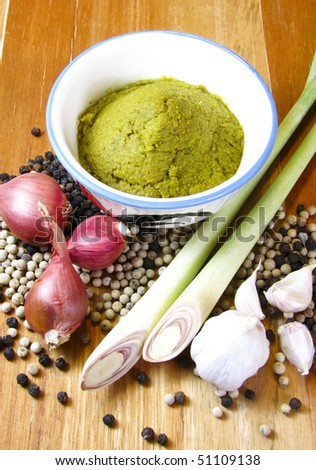 Thai green curry with ingredient - stock photo