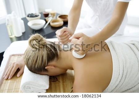 thai herbal massage - stock photo