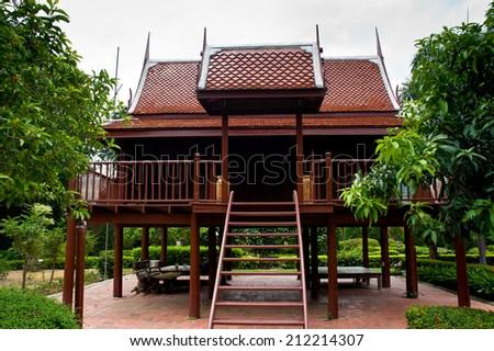 Thai house style, Teakwood home in garden, Thailand,Asia - stock photo