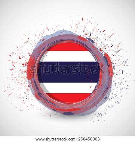 thai ink circle flag illustration design over a white background - stock photo