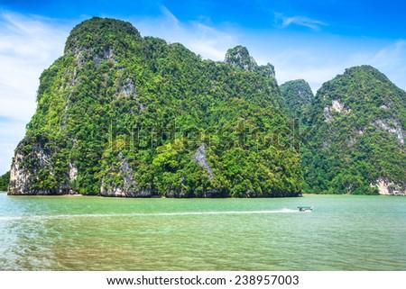 Thai Island with blue sky and sea,Phuket,Thailand - stock photo