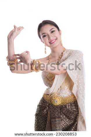 Thai Lady in vintage original Thailand attire dance action  in thai style - stock photo