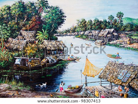 Thai life of oil painting - stock photo