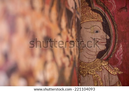 Thai literature and water painting in the Buddhaisawan Chapel, The National Museum Bangkok, Thailand - stock photo