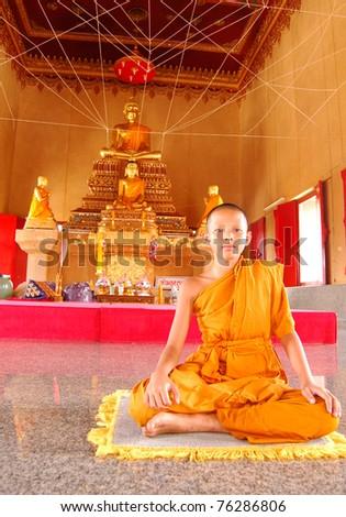 Thai litle monk - stock photo