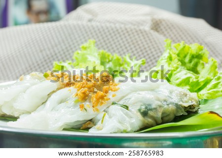 Thai local food Steamed Rice-skin Dumplings. - stock photo