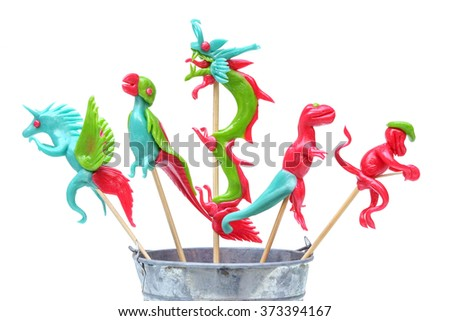 Thai lollipop candy in different shapes isolated - stock photo
