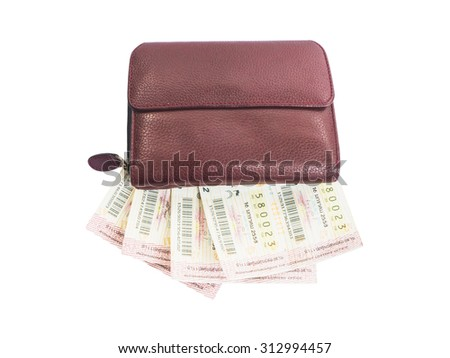 Thai lottery tickets and purse, isolated on white background - stock photo