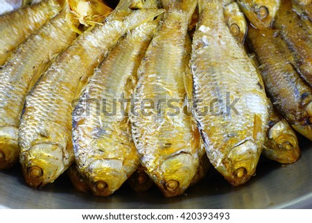 Thai mackerel boiled with salt and sugar sauce:Close up,select focus with shallow depth of field. - stock photo