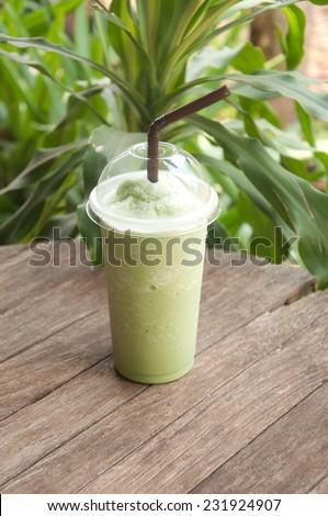 Thai milk green tea smoothie - stock photo