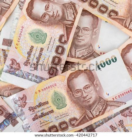 Thai money 1000 baht , thai bank note background. - stock photo