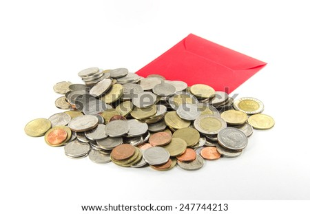 Thai money coin with Chinese red packets - stock photo