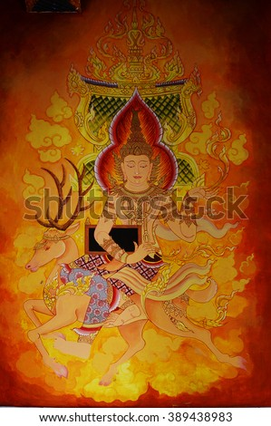 Thai mural painting, Buddha story on temple wall - stock photo