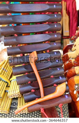 Thai musical instrument xylophone, asian instrument - stock photo