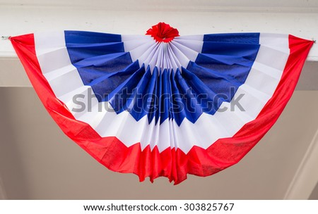 Thai nation flag, tricolor, a flag with three bands or blocks of different colors - stock photo