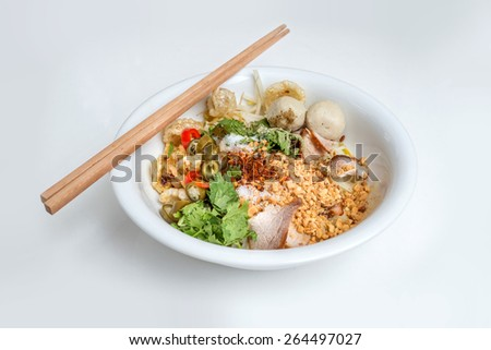 Thai Noodle Style with meat ball - stock photo
