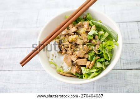 Thai noodle with soup - stock photo