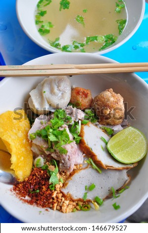 Thai noodle with soup, Kuay tiew moo - stock photo
