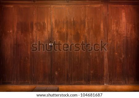 thai old front doors - stock photo