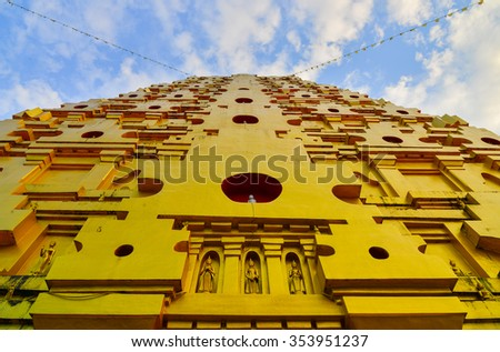 thai pagoda  In Thailand, any kinds of art decorated in Buddhist church created with money donated by people. They are public domain or treasure of Buddhism, no restrict in copy or use. - stock photo