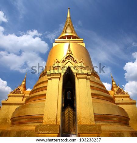 Thai Pagoda in the Royal Palace is beautiful at Wat Phra Kaew, Thailand - stock photo