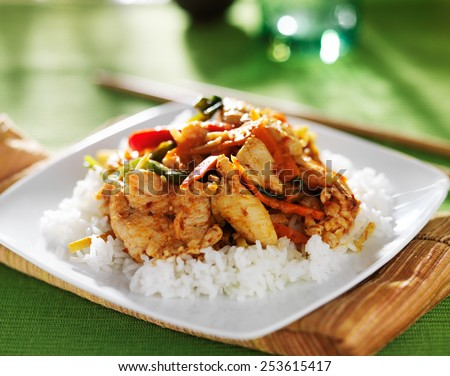thai panang red curry dish on green table cloth - stock photo