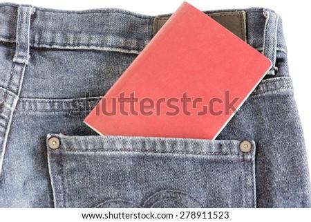 Thai passport in pant pocket - stock photo