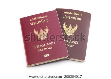thai passport on white background - stock photo
