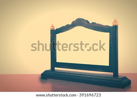 Thai plaque award wooden table. Vintage style. - stock photo