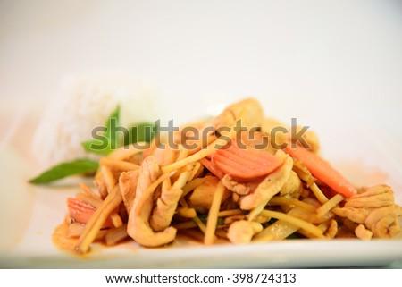 Thai Red Chicken Curry & Jasmine Rice - stock photo