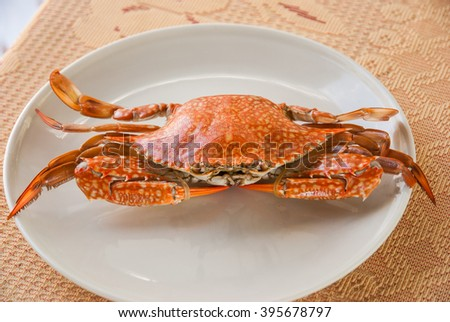 thai seafood cuisine : steamed crab, eat with spicy sauce. - stock photo