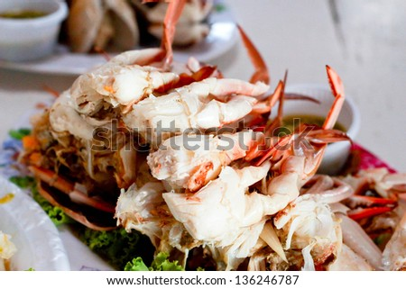 Thai seafood - steamed crab - stock photo