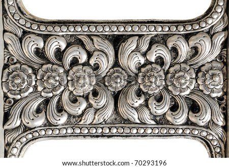Thai silver flower detail Crafts world. Thai Lanna style.  mythology fine-art - stock photo