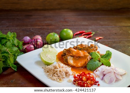 Thai Spicy Canned Sardines Salad - stock photo
