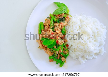 Thai spicy food basil tuna fried rice recipe  - stock photo